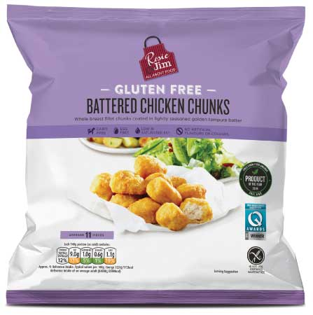 Rosie & Jim Gluten Free Battered Chicken Chunks - Frozen Bag