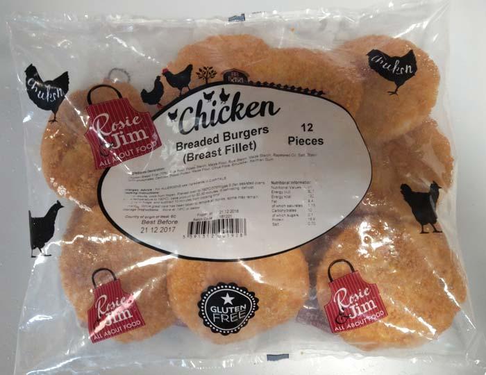 Rosie & Jim Breaded Chicken Burger Gluten Free