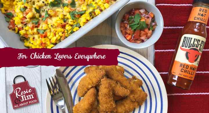 Southern Fried Chicken Goujons with Spicy Southern Hot Sweetcorn & Salsa