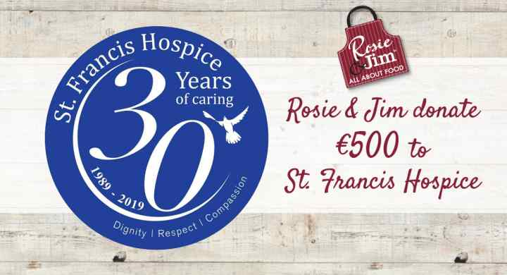 Rosie & Jim donate €500 to St Francis Hospice